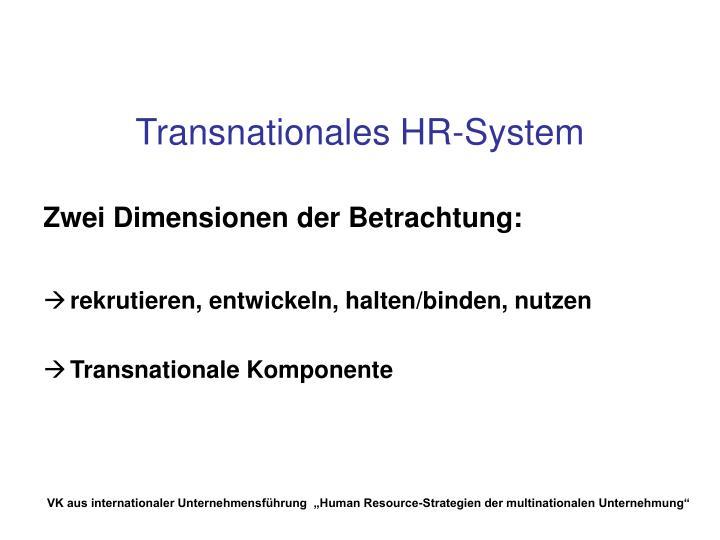 Transnationales HR-System