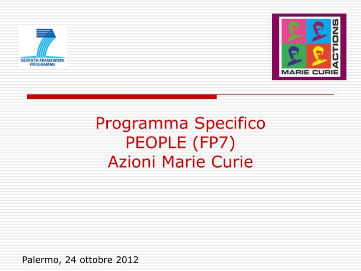 programma specifico people fp7 azioni marie curie n.