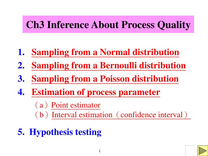 ch3 inference about process quality n.