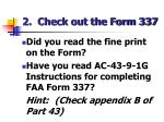 2 check out the form 337