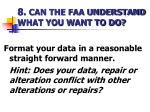 8 can the faa understand what you want to do