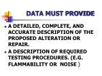 data must provide