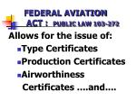 federal aviation act public law 103 272