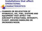 installations that affect operational characteristics