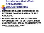 installations that affect operational characteristics2
