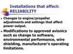 installations that affect reliability1