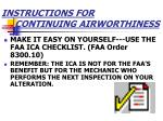 instructions for continuing airworthiness