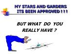 my stars and garders its been approved