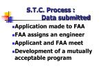 s t c process data submitted