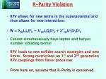 r parity violation