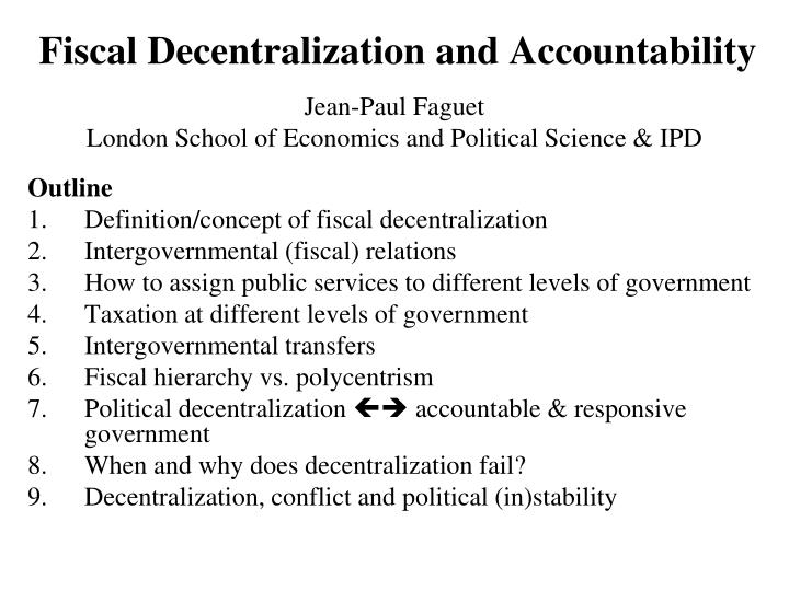 fiscal decentralization and accountability n.