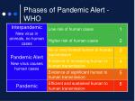 phases of pandemic alert who