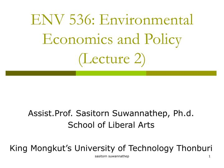 env 536 environmental economics and policy lecture 2 n.