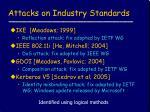 attacks on industry standards
