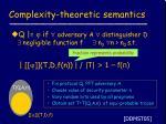 complexity theoretic semantics
