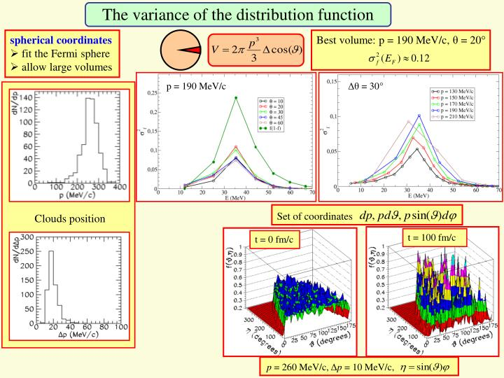 The variance of the distribution function