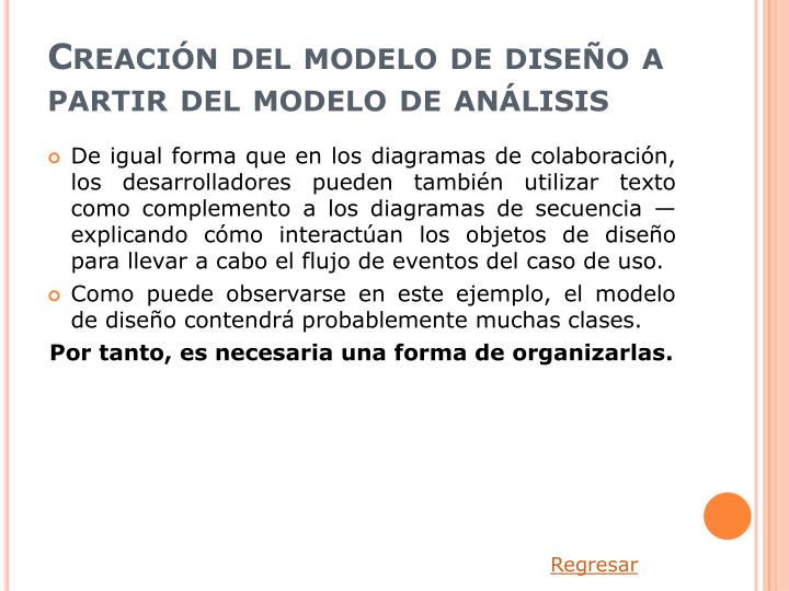 Creación del modelo de diseño a partir del modelo de análisis