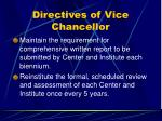 directives of vice chancellor