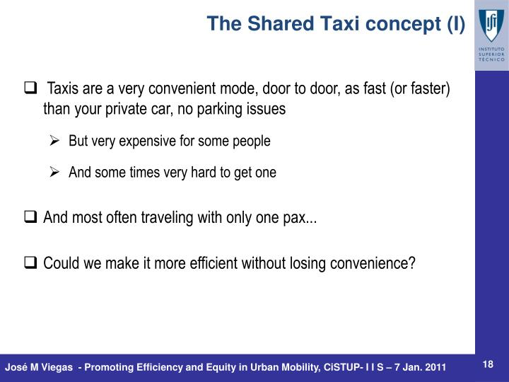 The Shared Taxi concept (I)