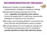 recommendation key messages