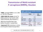 transmission of multi resistant p aeruginosa mrpa houston