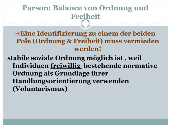Parson balance von ordnung und freiheit