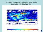 probability of seasonal precipitation below 5 ile associated with global warming