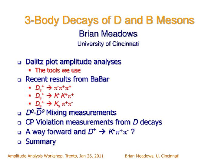 3 body decays of d and b mesons n.