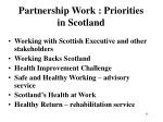 partnership work priorities in scotland