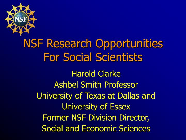 nsf research opportunities for social scientists n.