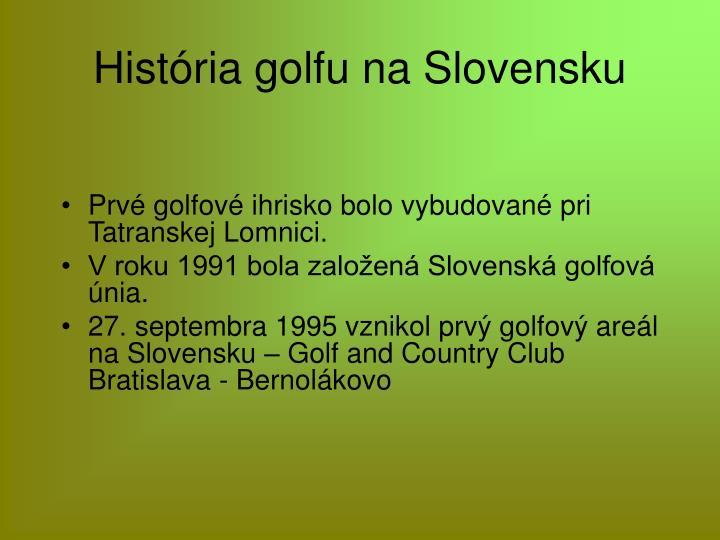 História golfu na Slovensku