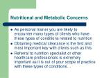 nutritional and metabolic concerns1