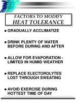 factors to modify heat tolerance