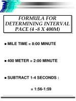 formula for determining interval pace 4 8 x 400m