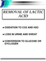 removal of lactic acid