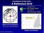 coordinates map units a reference grid