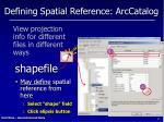 defining spatial reference arccatalog