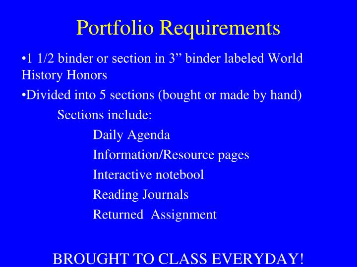 portfolio requirements n.