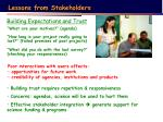 lessons from stakeholders