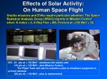 effects of solar activity on human space flight