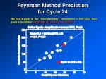 feynman method prediction for cycle 24