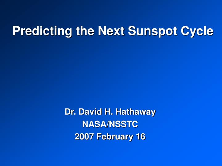 predicting the next sunspot cycle n.
