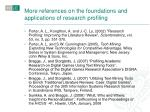 more references on the foundations and applications of research profiling