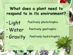 what does a plant need to respond to in its environment