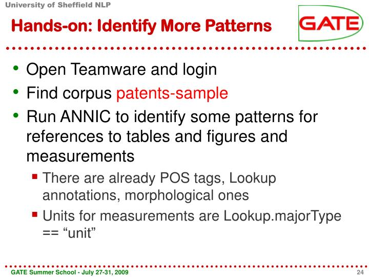 Hands-on: Identify More Patterns