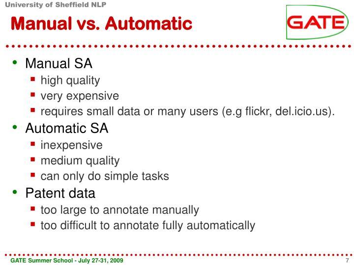 Manual vs. Automatic