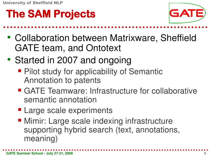 The SAM Projects