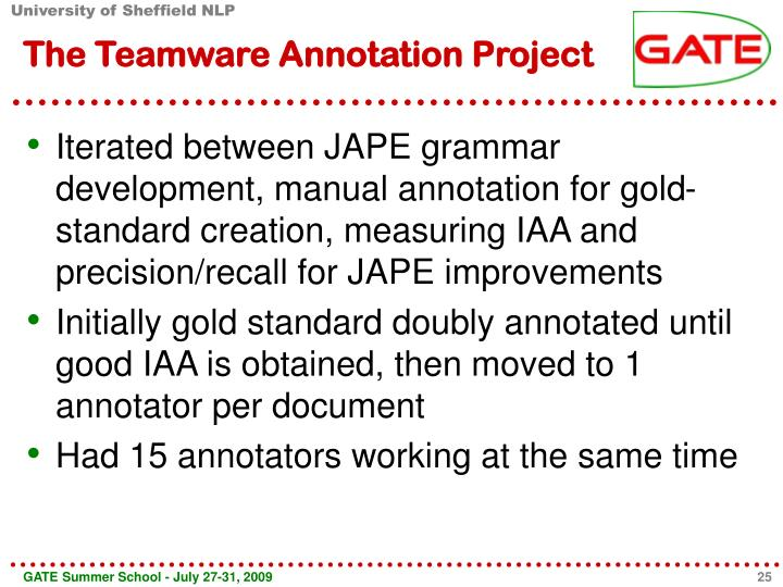 The Teamware Annotation Project