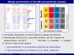 gauge symmetries of the sm and particele masses