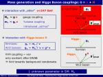 mass generation and higgs boson couplings f v h